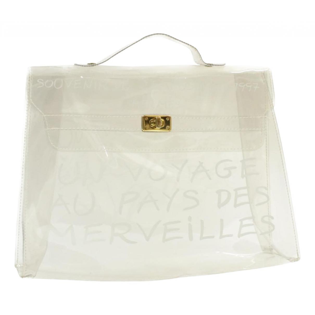 Hermes Kelly 40 Handtasche in  Weiss Kunststoff