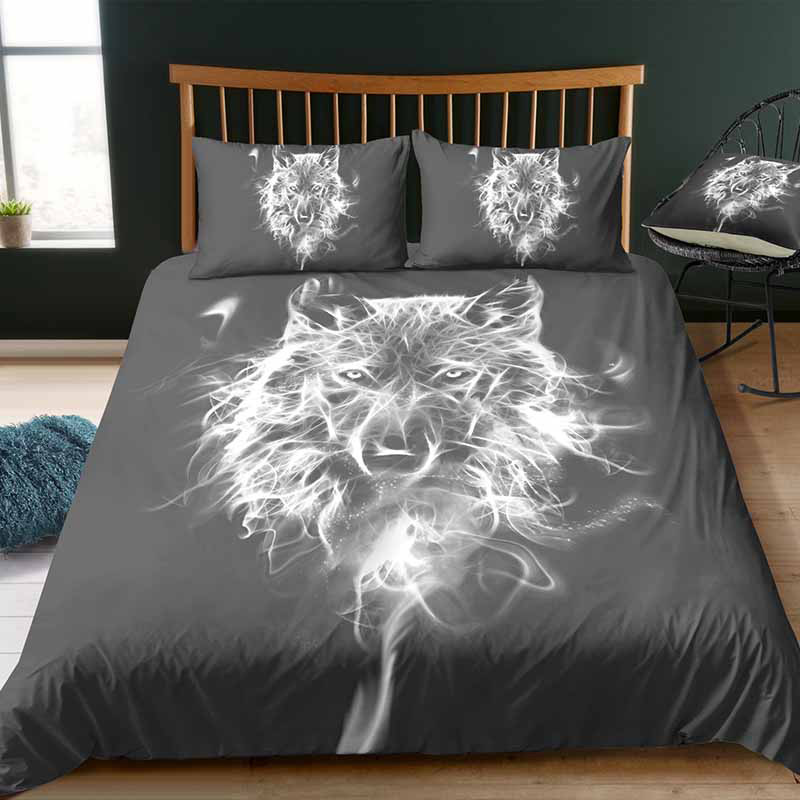 Wolf Digital Printing Bedding Sets Polyester 3D 3-Piece Duvet Cover with 2 Pillowcases