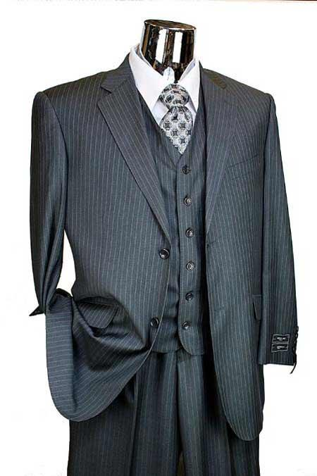 3 Piece 2 Button Charcoal Pinstripe Italian Designer Suit Mens