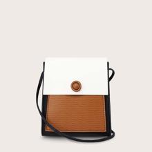 Colorblock Flap Crossbody Bag