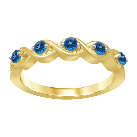 Marvel Universe Fine Jewelry By Marvel Womens Genuine Blue Topaz 14K Gold Over Silver Round Marvel Cocktail Ring, 7 , No Color Family