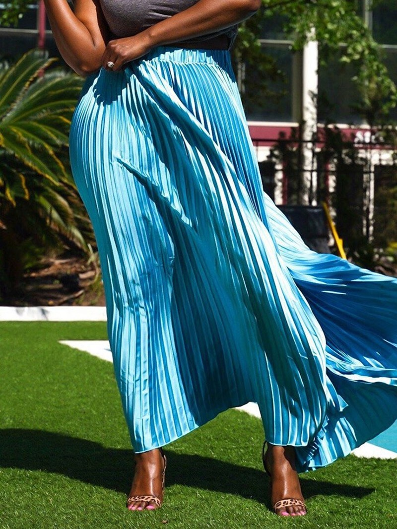 Ericdress Pleated Floor-Length Pleated Fashion Skirt