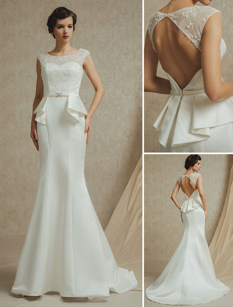 Milanoo Vestido de novia de saten con escote redondo de cola barrida