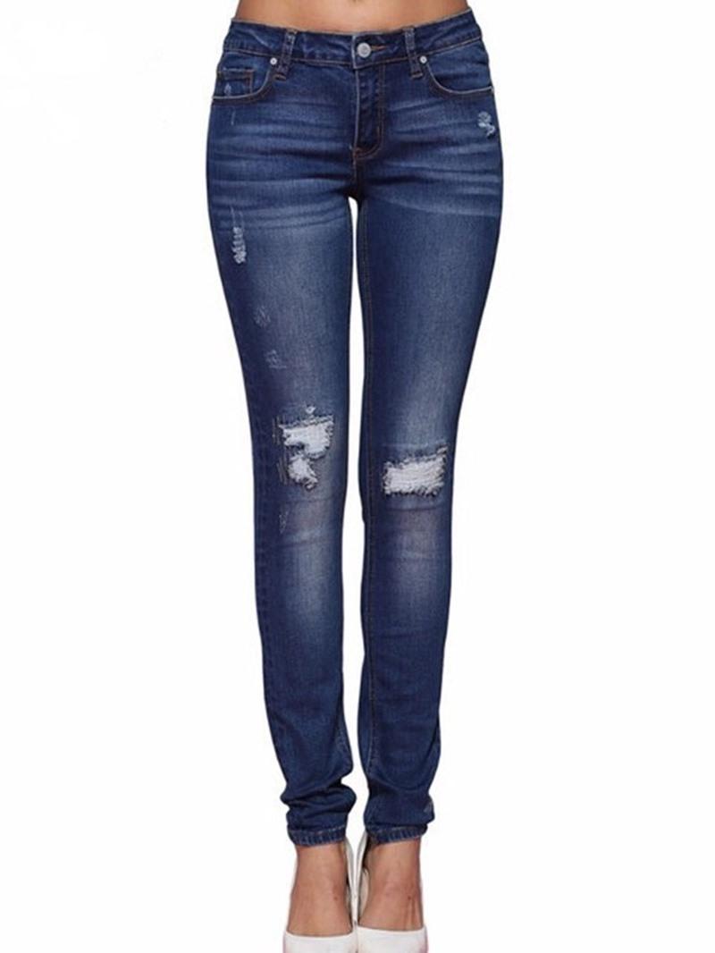 Ericdress Worn Plain Pencil Pants Button Slim Jeans