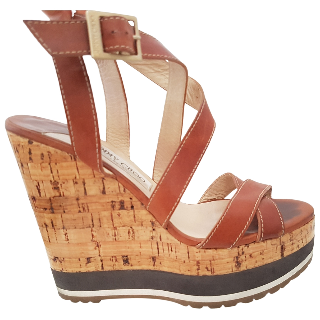 Jimmy Choo \N Brown Leather Sandals for Women 37.5 EU