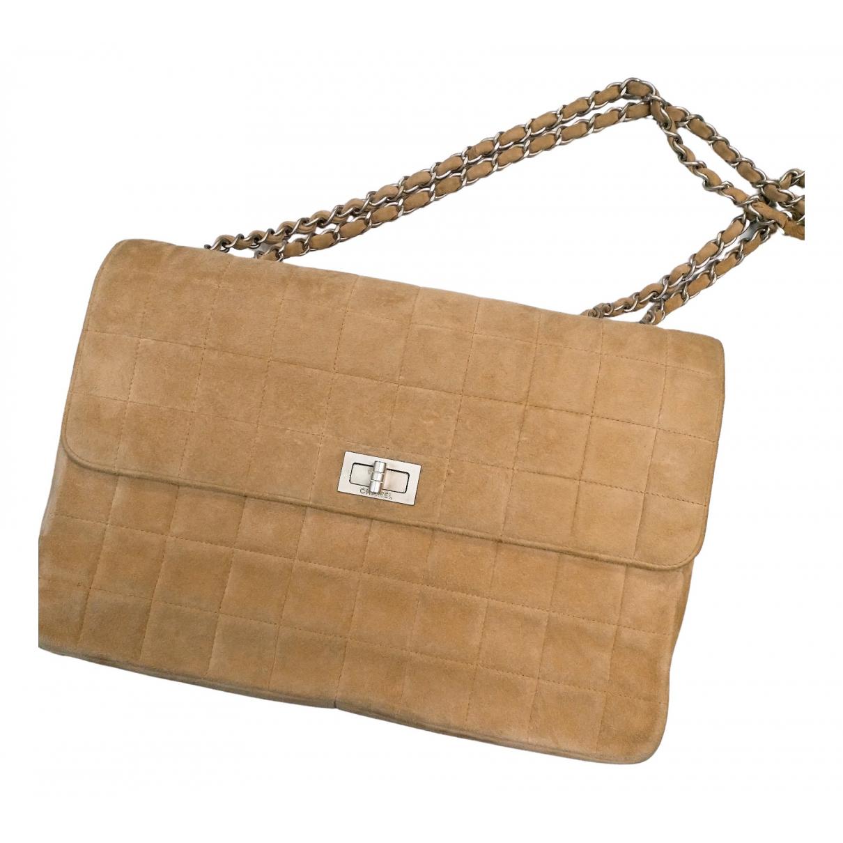Chanel - Sac a main   pour femme en suede - beige