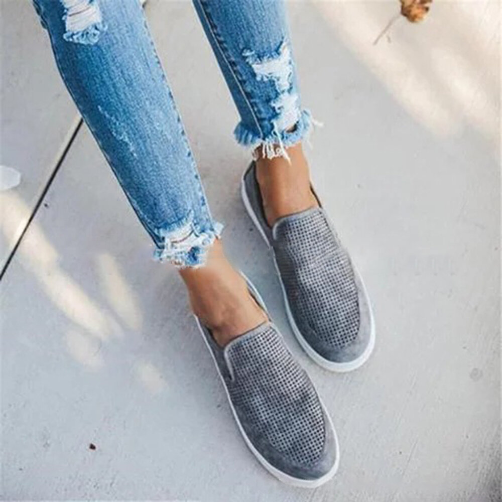 Large Size Women Casual Cloth Solid Color Slip On Flat Loafers