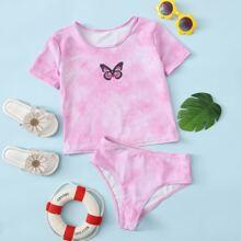 Girls Butterfly Print & Tie Dye Bikini Swimsuit