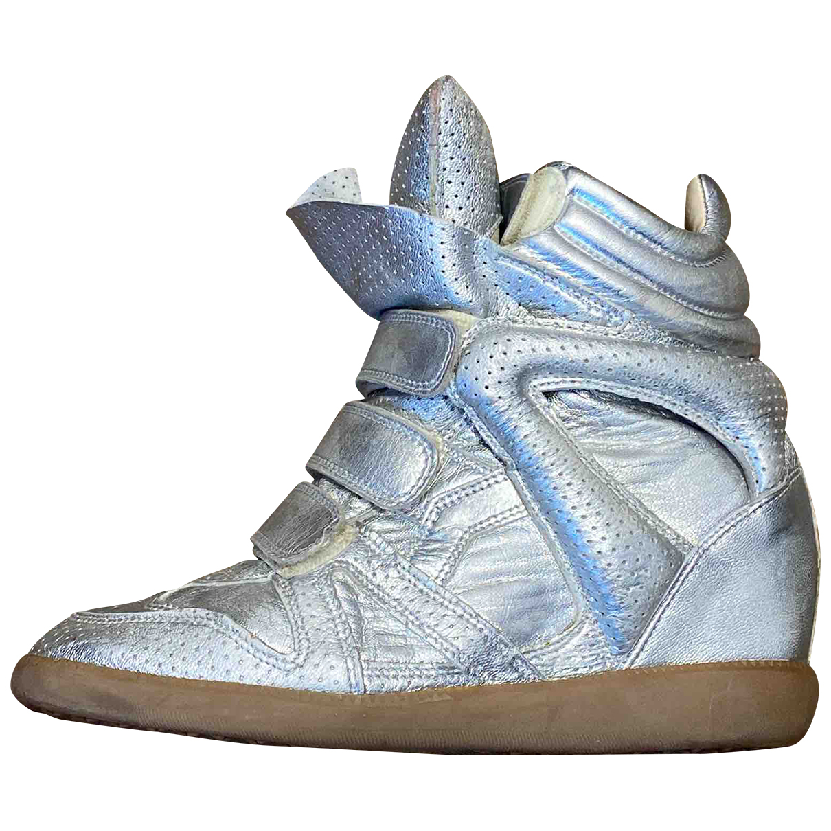 Isabel Marant Beckett Silver Leather Trainers for Women 37 EU