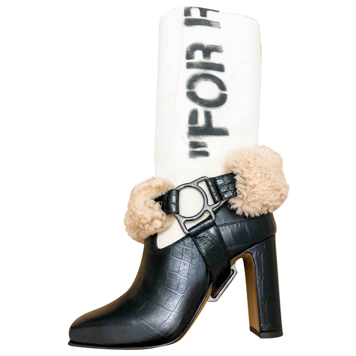 Off-white \N Stiefel in  Schwarz Leder