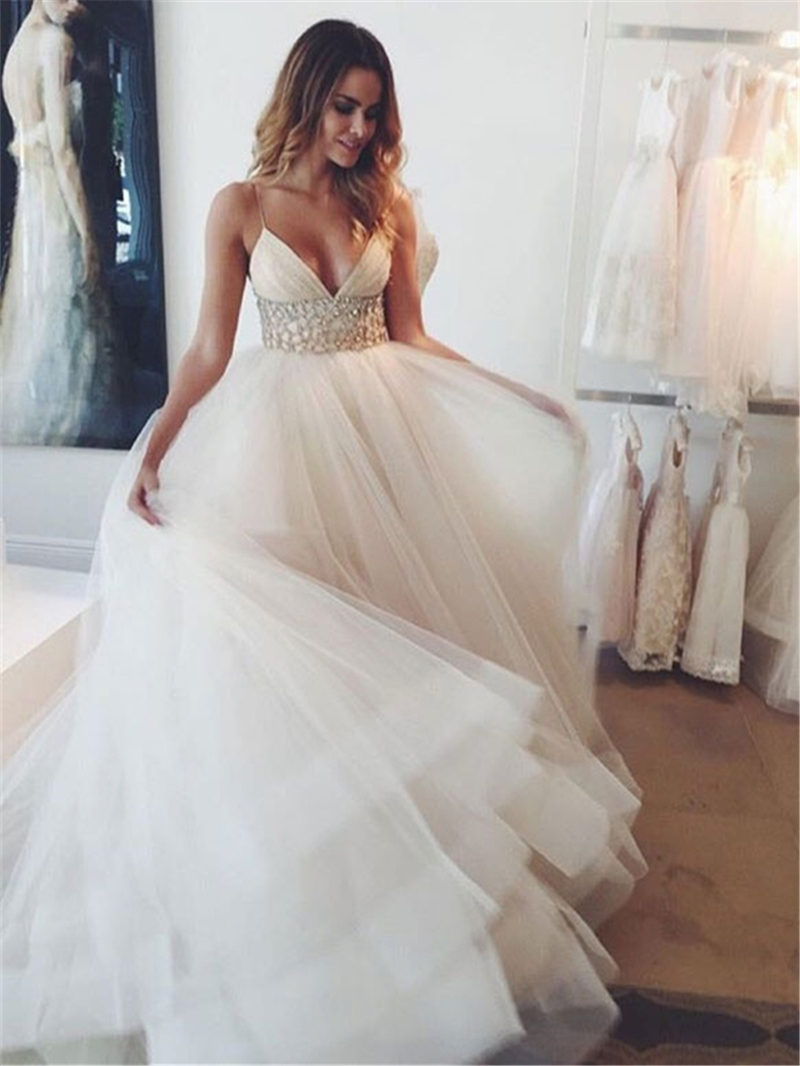 Ericdress V Neck Spaghetti Straps Beading Wedding Dress
