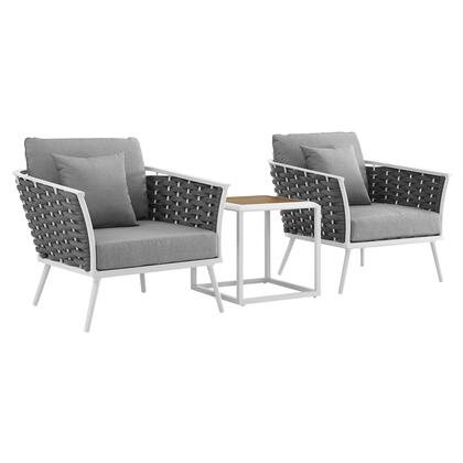 Stance Collection EEI-3163-WHI-GRY-SET 3 PC Outdoor Patio Aluminum Sectional Sofa Set in White Grey