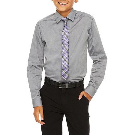 Van Heusen Flex Big Boys Button Down Collar Long Sleeve Shirt + Tie Set, Medium (10-12) , Gray