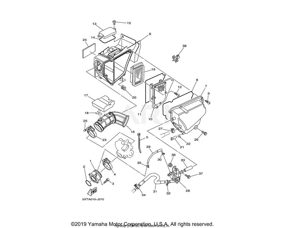 Yamaha OEM 5XT-14401-20-00 AIR CLEANER CASE ASSY