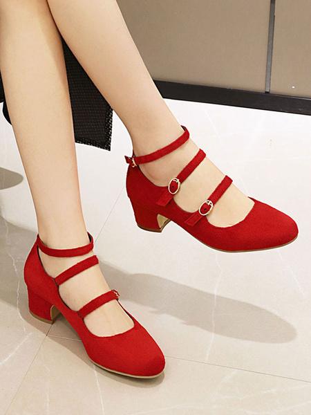 Milanoo Mary Jane Woman\'s Block Heels Vintage Pumps Plus Size Shoes