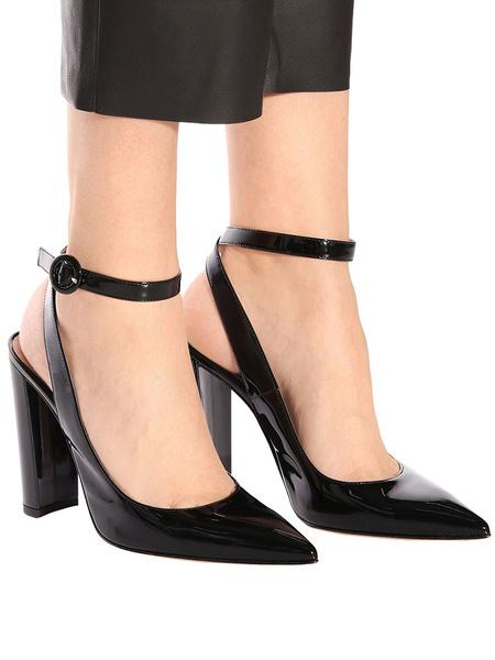 Milanoo Black High Heels Pointed Toe Slingbacks Ankle Strap Block Heel Women Dress Shoes