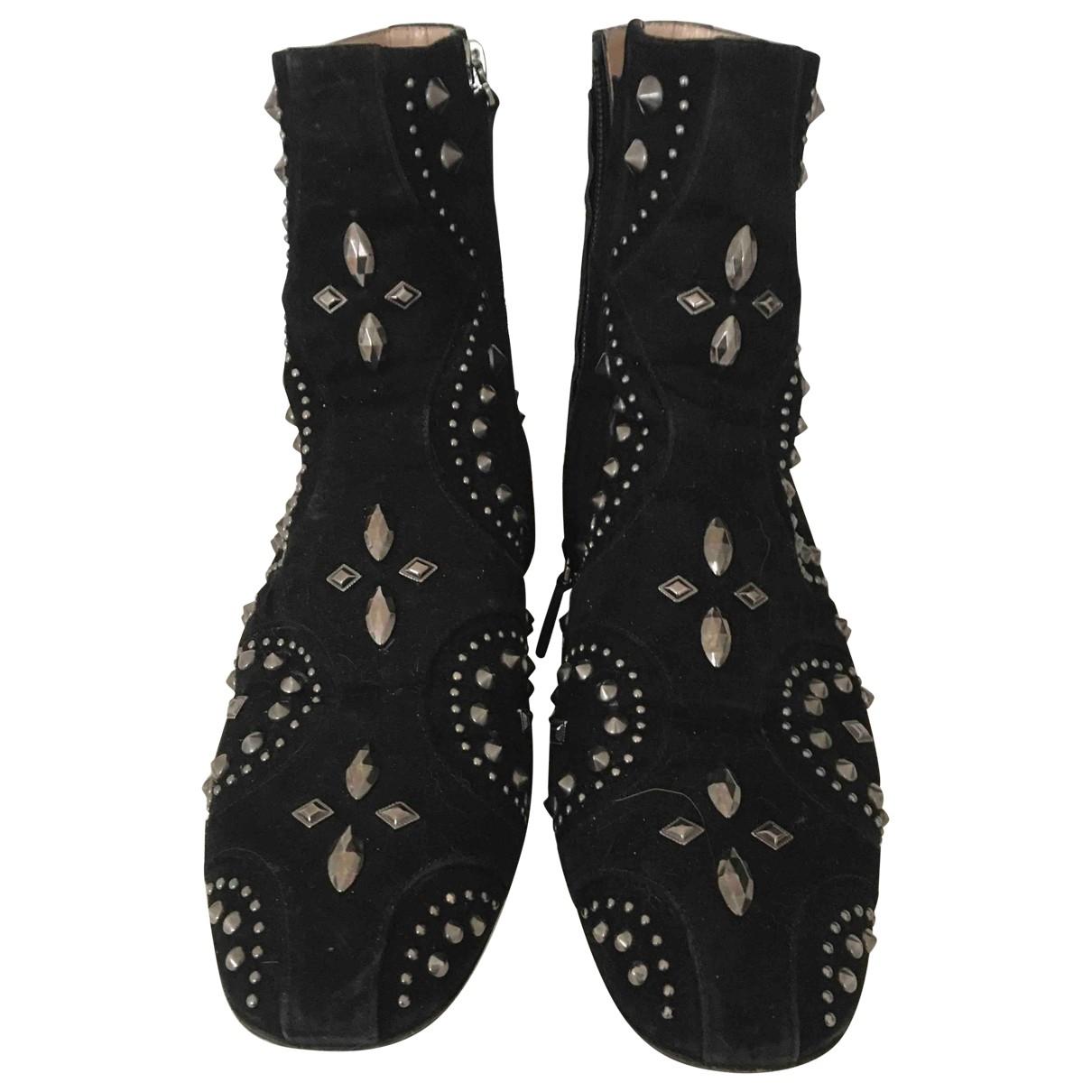 Valentino Garavani - Boots   pour femme en suede - noir
