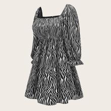 Plus Snakeskin Print Shirred Dress