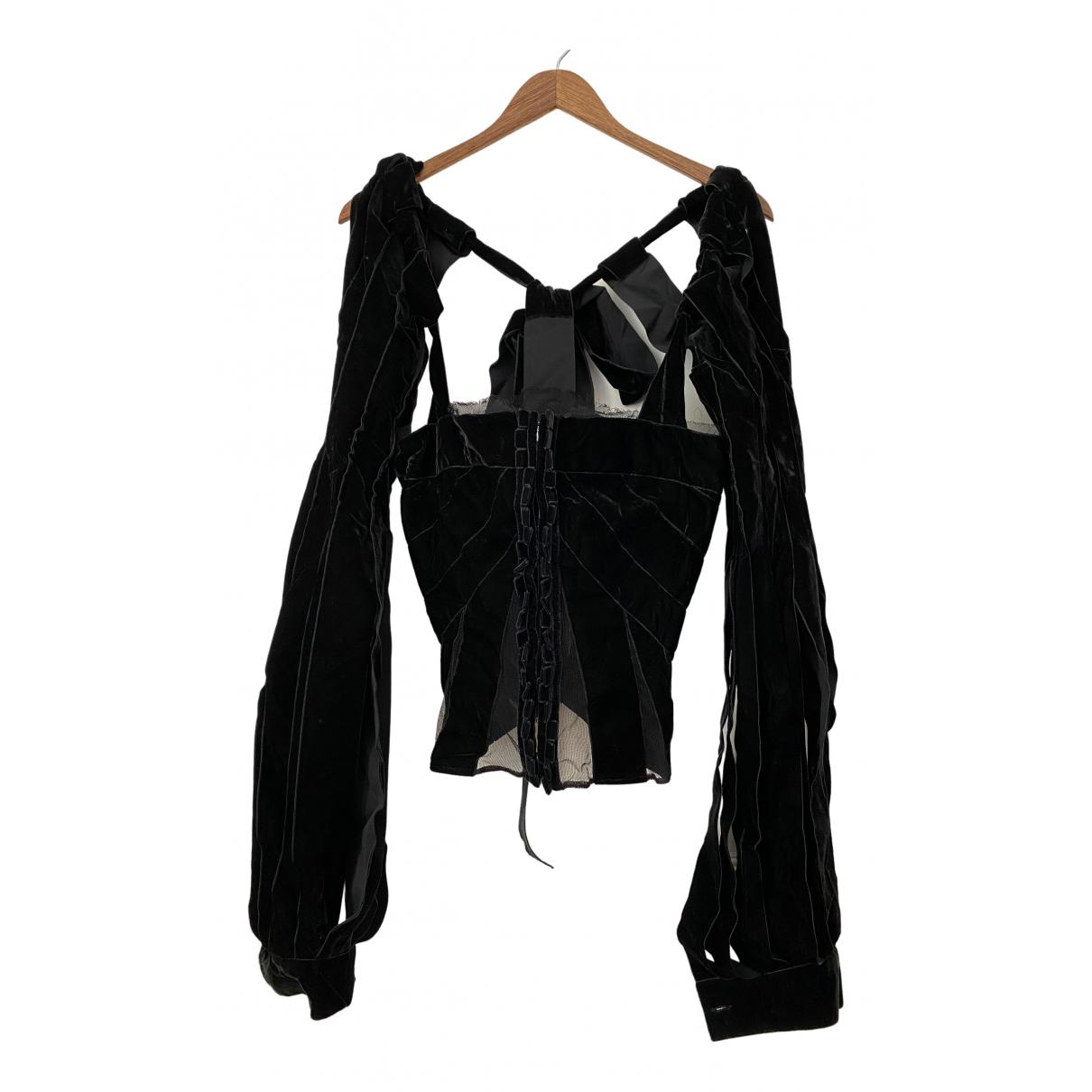 Yves Saint Laurent - Top   pour femme en velours - noir