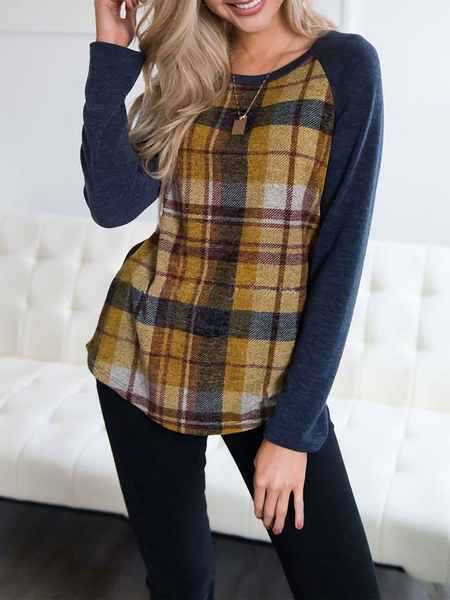 Yoins Yellow Check Round Neck Long Sleeves Colorblock Tee