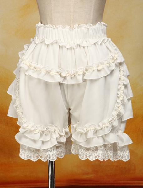 Milanoo Sweet Lolita Bloomers White Cotton Lace Trim Ruffles