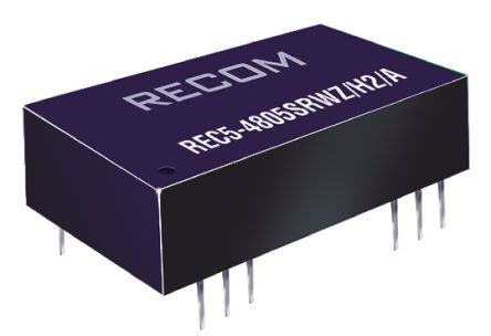 Recom REC5 5W Isolated DC-DC Converter Through Hole, Voltage in 18 → 72 V dc, Voltage out 15V dc Medical Approved