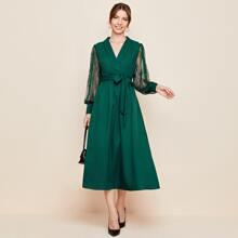 Shawl Collar Lace Lantern Sleeve Belted Dress