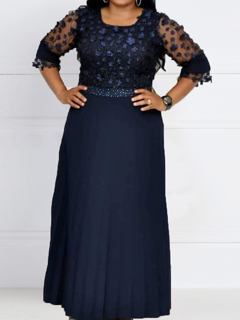Ericdress Floor-Length Sleeve Floral Mid Waist Women's Dress
