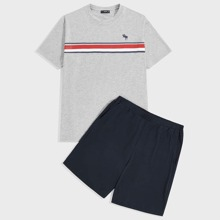 Men Wapiti and Striped Print Top & Shorts PJ Set