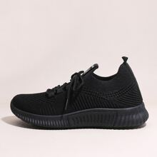 Lace-up Decor Low Top Knit Sneakers