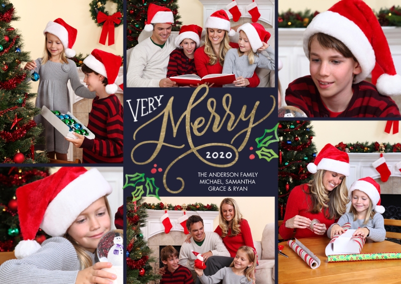 Christmas Photo Cards 5x7 Cards, Premium Cardstock 120lb with Rounded Corners, Card & Stationery -Christmas 2020 Very Merry by Tumbalina