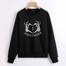Sweatshirt mit Halloween Buchstaben & Skelett Hand Muster