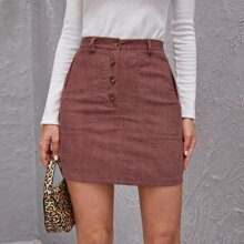 Button Fly Corduroy Skirt