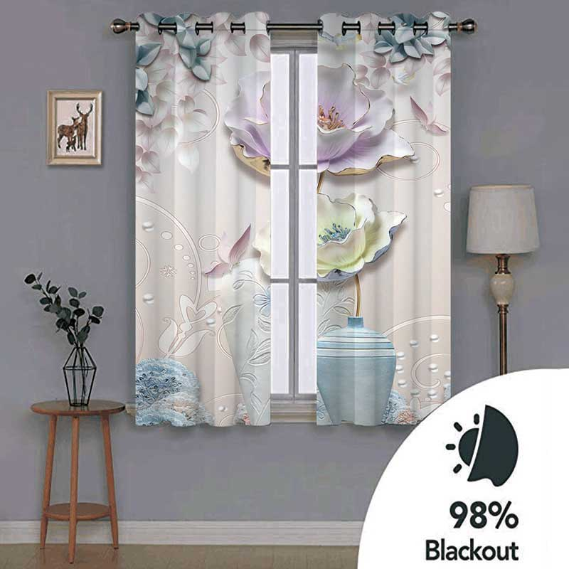 Elegant Vintage 3D Floral Decoration Curtains Custom 2 Panels 98% Blackout Drapes No Pilling No Fading No off-lining