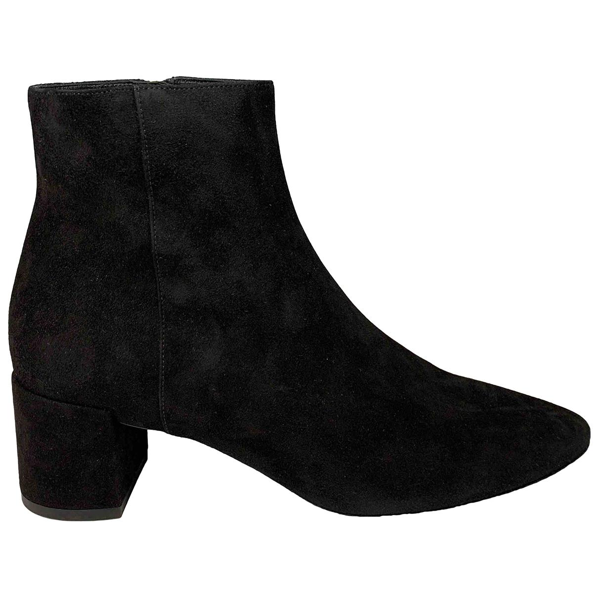 Saint Laurent - Boots Loulou pour femme en suede - noir