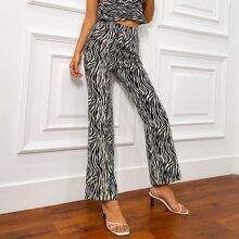 Double Crazy Hose mit hoher Taille und Zebra Streifen