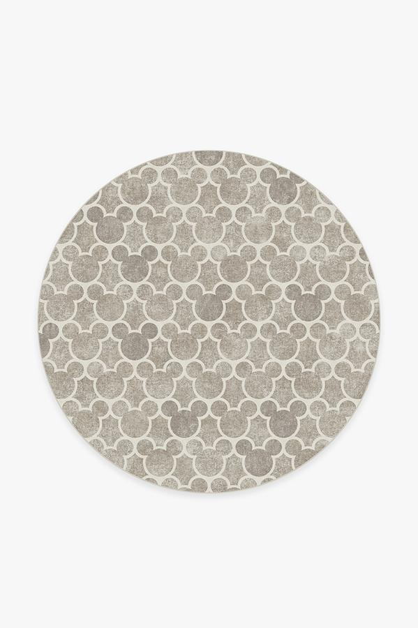 Washable Rug Cover | Mickey Trellis Ash Grey Rug | Stain-Resistant | Ruggable | 6' Round