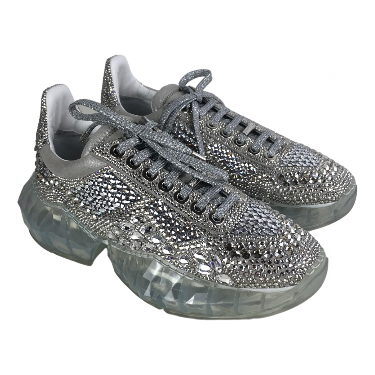 Jimmy Choo Diamond Silver Cloth Trainers for Women 37 EU