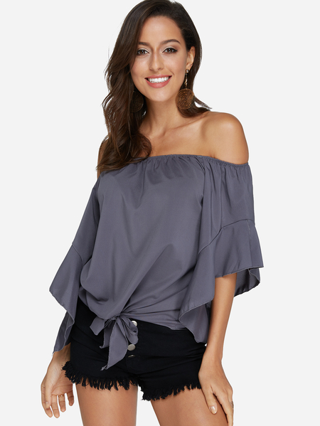 Yoins Grey Lace-up Design Off The Shoulder Bell Sleeves Blouse