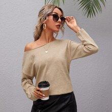 Drop Shoulder Button Detail Sweater
