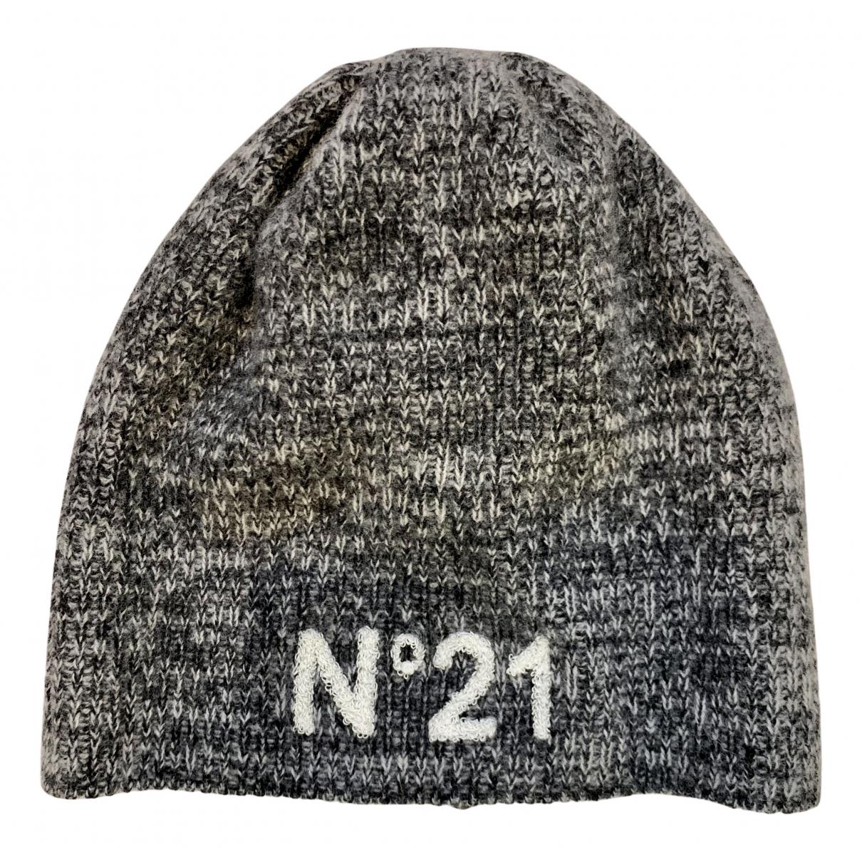 N°21 \N Hut, Muetzen in  Grau Wolle
