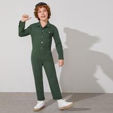 Jungen Jumpsuit mit Klappe Taschen und Knopfen vorn