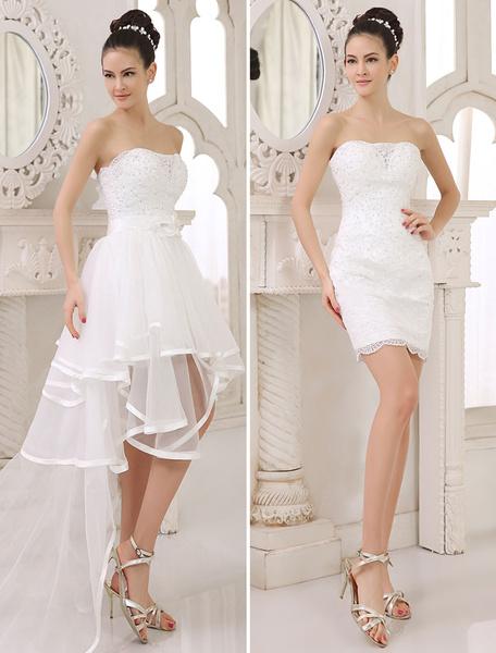Milanoo Vestido de novia de encaje de color marfil sin tirantes con volante fruncido