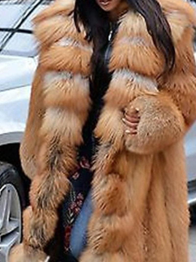 Ericdress Long Hooded Plain Straight Winter Faux Fur Overcoat