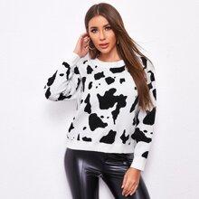 Drop Shoulder Cow Sweater