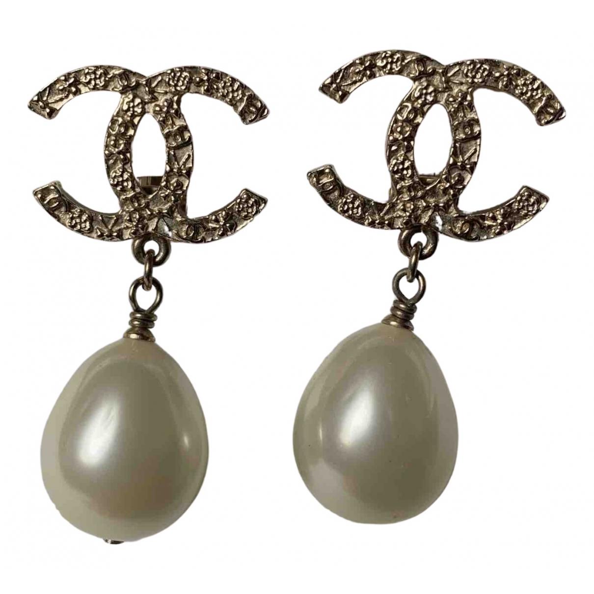 Chanel - Boucles doreilles CC pour femme en argent - argente