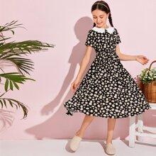 Kleid mit Guipure Spitzenbesatz und Gaensebluemchen Muster