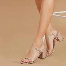 Square Toe Ankle Strap Chunky Heel Sandals