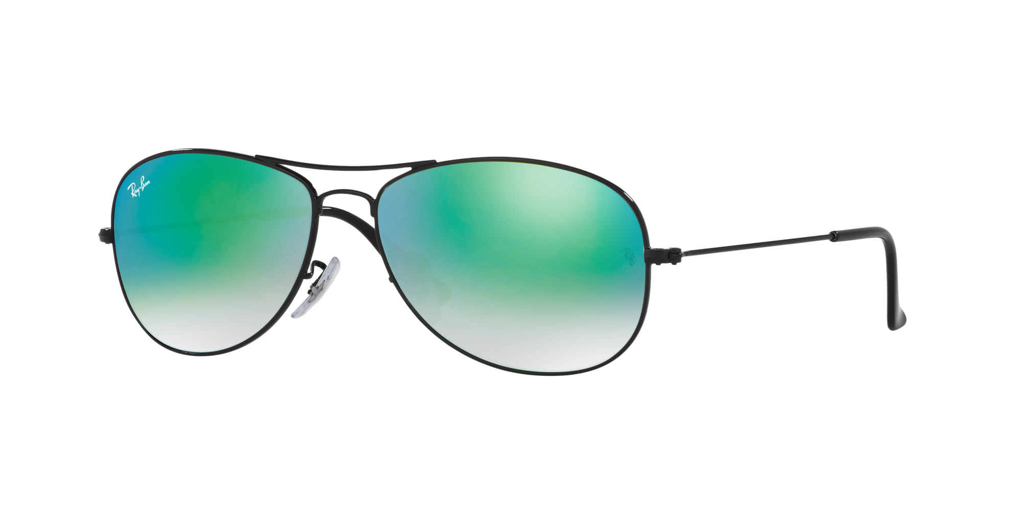 Ray Ban Unisex  RB3362 COCKPIT FLASH LENSES GRADIENT -  Frame color: Black, Lens color: Green, Size 59-14/135