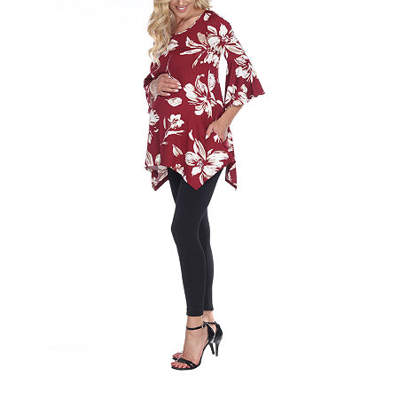 White Mark-Plus Maternity Roche Womens Scoop Neck 3/4 Sleeve Tunic Top, 1x , Red